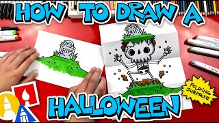 How To Draw A Hall๐ween Folding Surprise (Skeleton Grave)