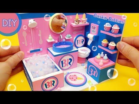 DIY Miniature Dollhouse - Baskin Robbins Bathroom decor ! 31 Ice cream !!