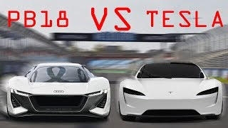 New Fastest Sports Car? Audi PB18 e Tron vs Tesla Roadster 2