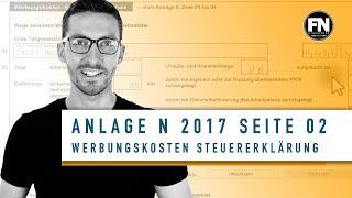 Anlage N 2017 Seite 2 ausfüllen | Steuererklärung Werbungskosten 2017 Arbeitnehmer | Elster Anlage N