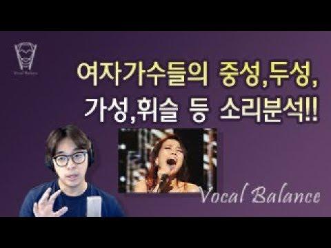 [보컬밸런스] 여자가수들의 중성,두성,가성,휘슬 등 소리분석!!