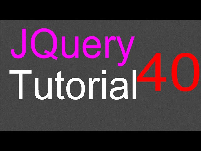 jQuery Tutorial for Beginners - 40 - Menu options