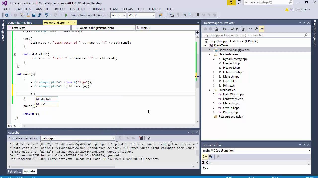 C++ Tutorial [105] - Smart Pointer: unique_ptr GERMAN ...