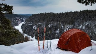 Winter Camping at the top of a Canyon