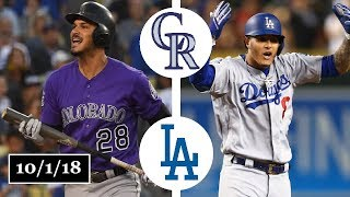 Colorado Rockies vs Los Angeles Dodgers Highlights || NL West Tiebreaker || October 1, 2018