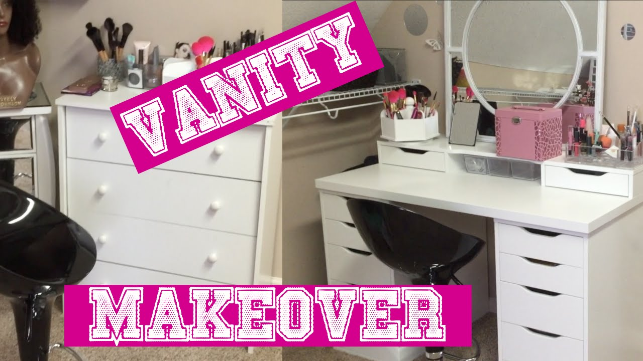 Vanity Makeover ft Ikea alex drawers  table top  YouTube