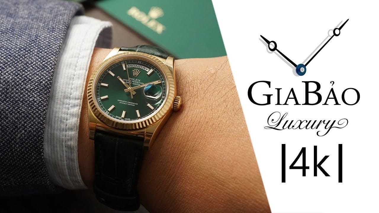 Review trên tay đồng hồ Rolex Day-Date 118138 mặt số xanh lá