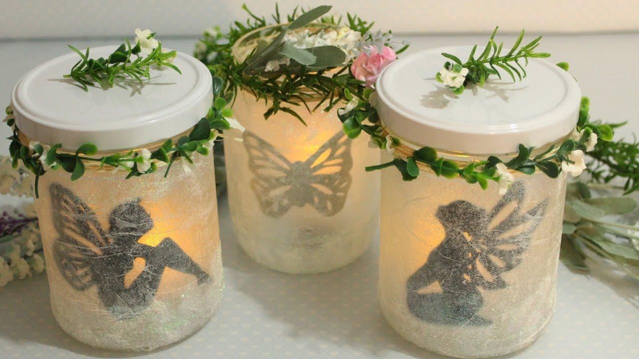 diy leuchtende deko gl ser feen laternen fairy jars fairy lantern youtube. Black Bedroom Furniture Sets. Home Design Ideas