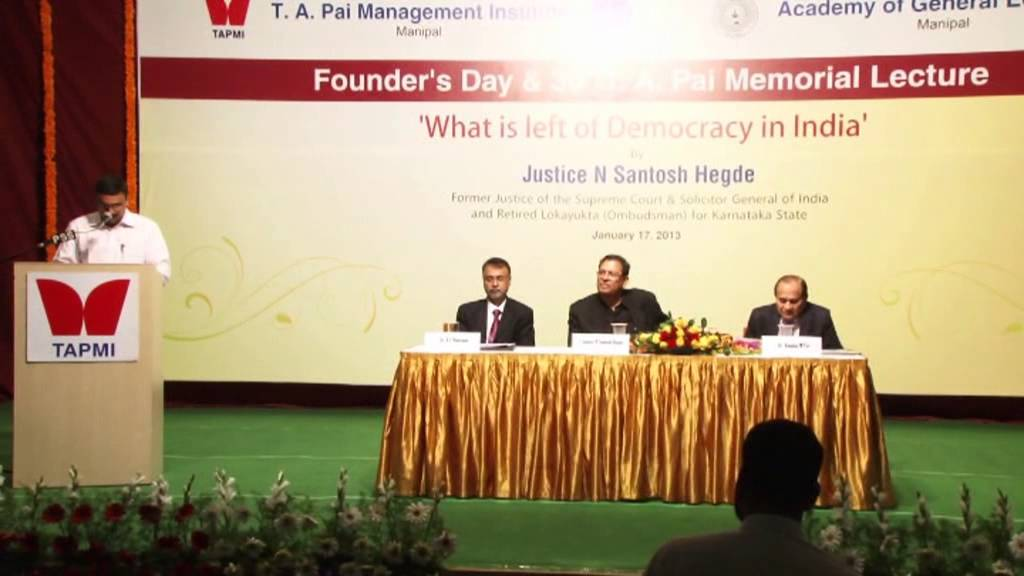 30th T.A. Pai Memorial Lecture By Justice N Santosh Hegde Part#4/4