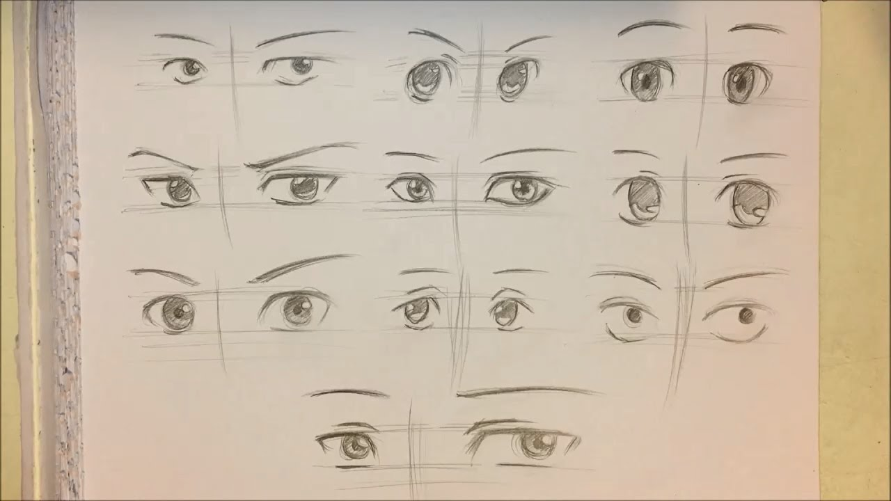 How to draw anime boy eyes 10 ways no timelapse