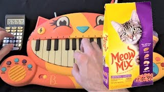 PURINA MEOWMIX CAT FOOD SONG ON A CAT PIANO AND A DRUM CALCULATOR