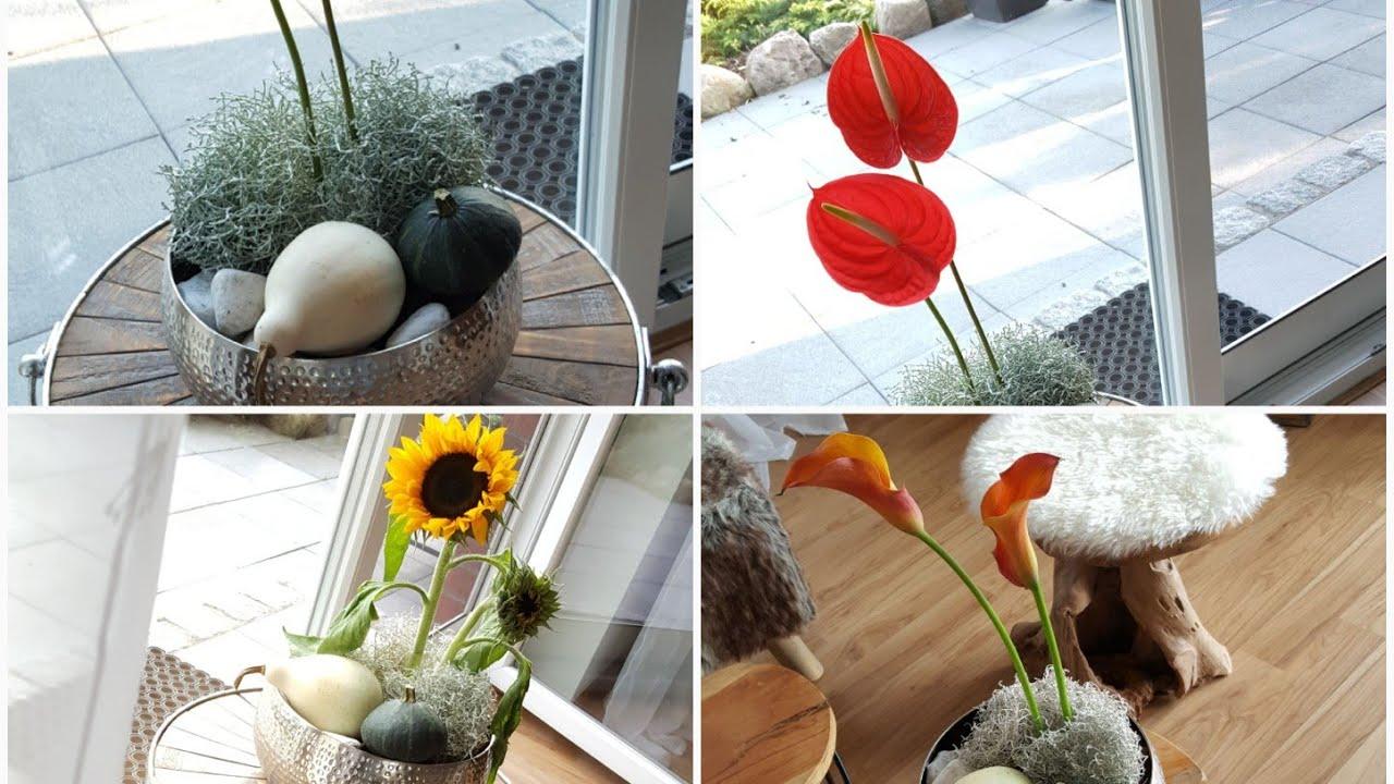 herbstdeko herbstdeko 2018 mit k rbis und anthurien flamingoblume f r tisch beistelltisch. Black Bedroom Furniture Sets. Home Design Ideas