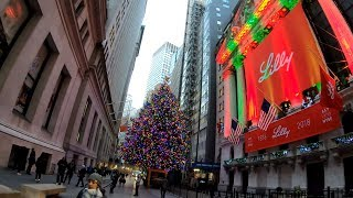 ⁴ᴷ⁶⁰ Walking NYC : Wall Street & The Financial District during the Holidays 2018