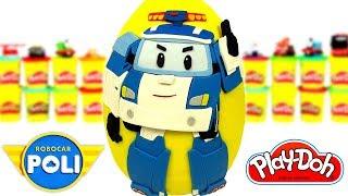 Huevo Sorpresa Gigante de Robocar Poli en Español de Plastilina Play Doh