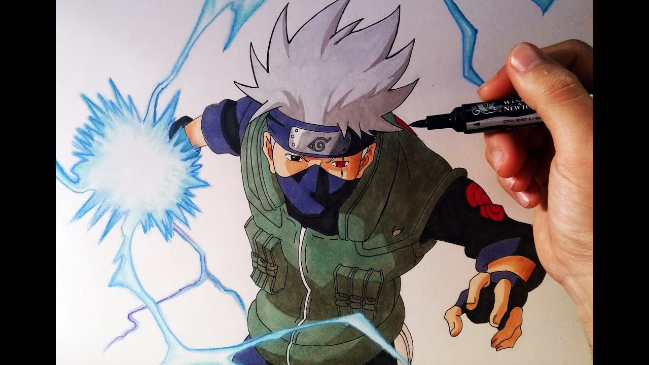 Cómo Dibujar A Kakashi Con Chidori How To Draw Kakashi With