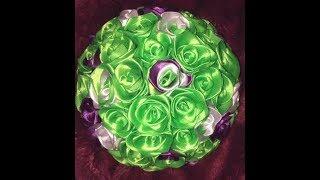 Фиолетово-зелёный свадебный букет дублёр из лент Юлии Михно