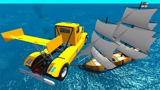BeamNG drive - Can We Destroy A Pirate Ship With Cars ?
