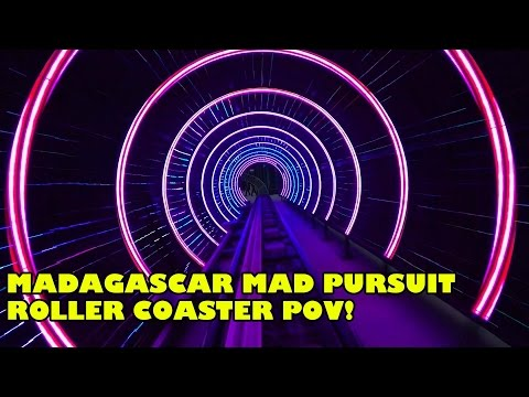 Madagascar Mad Pursuit Roller Coaster Front Seat POV Low Light Motiongate Dubai #rollercoaster