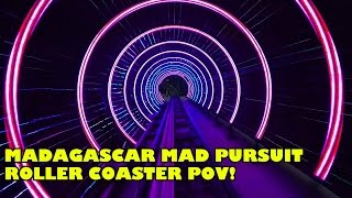 Madagascar Mad Pursuit Roller Coaster Front Seat POV Low Light Motiongate Dubai #rollercoaster