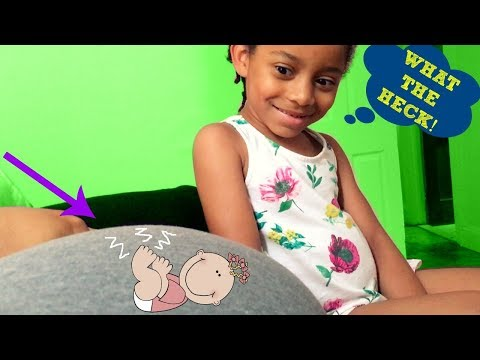 4 year old REACTS to Baby Sister Kicking In Mommy's Belly