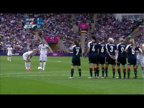 Christine Sinclair awesome free kick vs Great Britain HD
