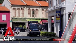 Police hearses seen at scene of Tanjong Pagar car crash that killed 5 men