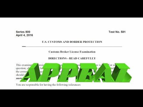 April 2016 Customs Broker License Examination Appeal