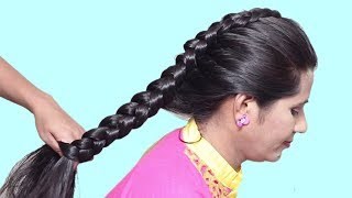 Easy Everyday Side Puff Hairstyle | How to do Braid Hairstyles for long hair | Hairstyles tutorial