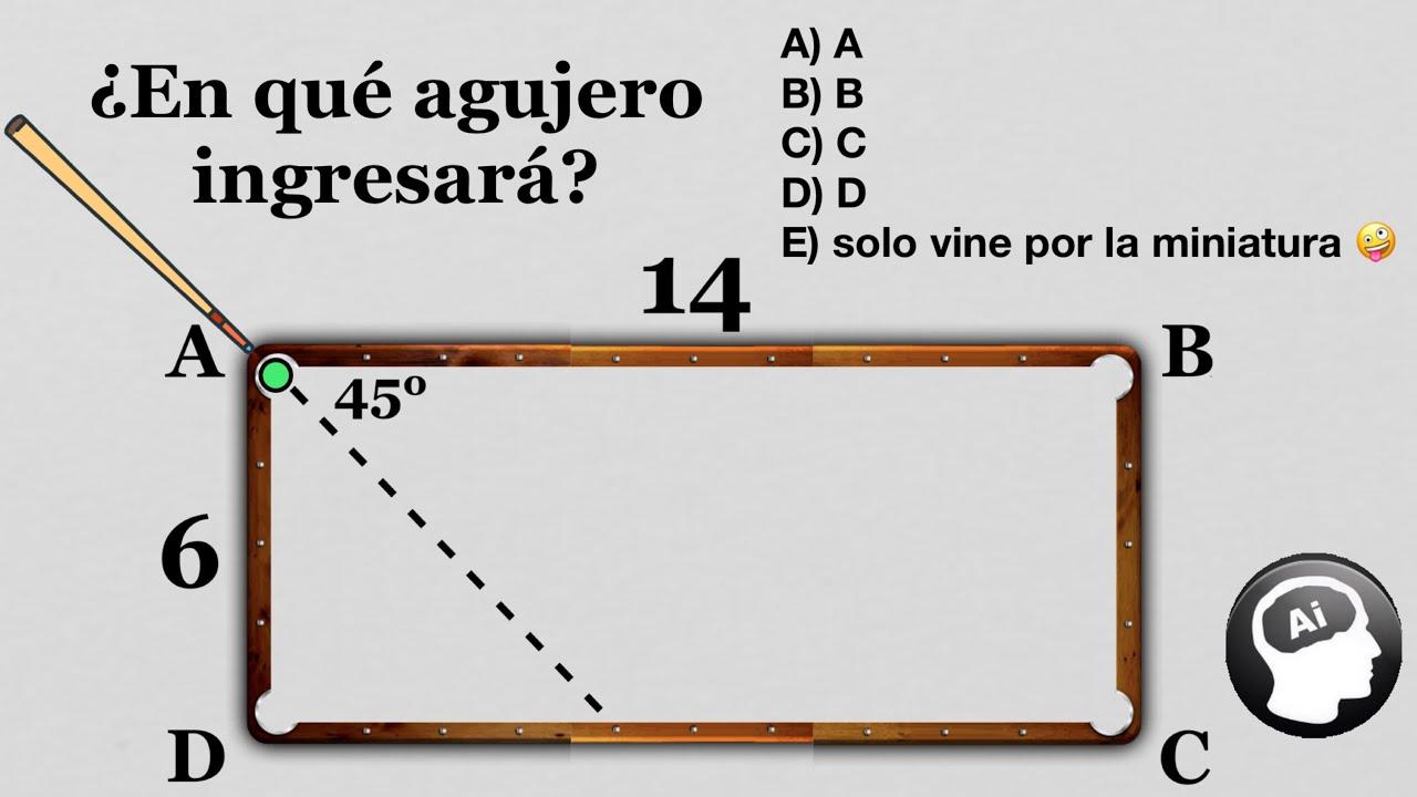 Acertijo matematico viral 😱 | Si la pelota viaja en linea recta, ¿en qué agujero ingresará? 🤔