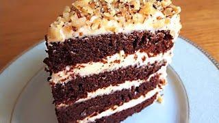 Шоколадный Бисквитный Торт с Кремом Пломбир