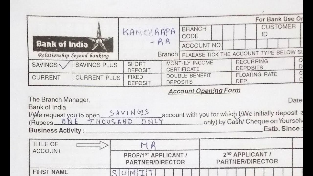 How to fill bank of indiaboi account opening form how to fill bank of indiaboi account opening form simplified in hindi xflitez Choice Image