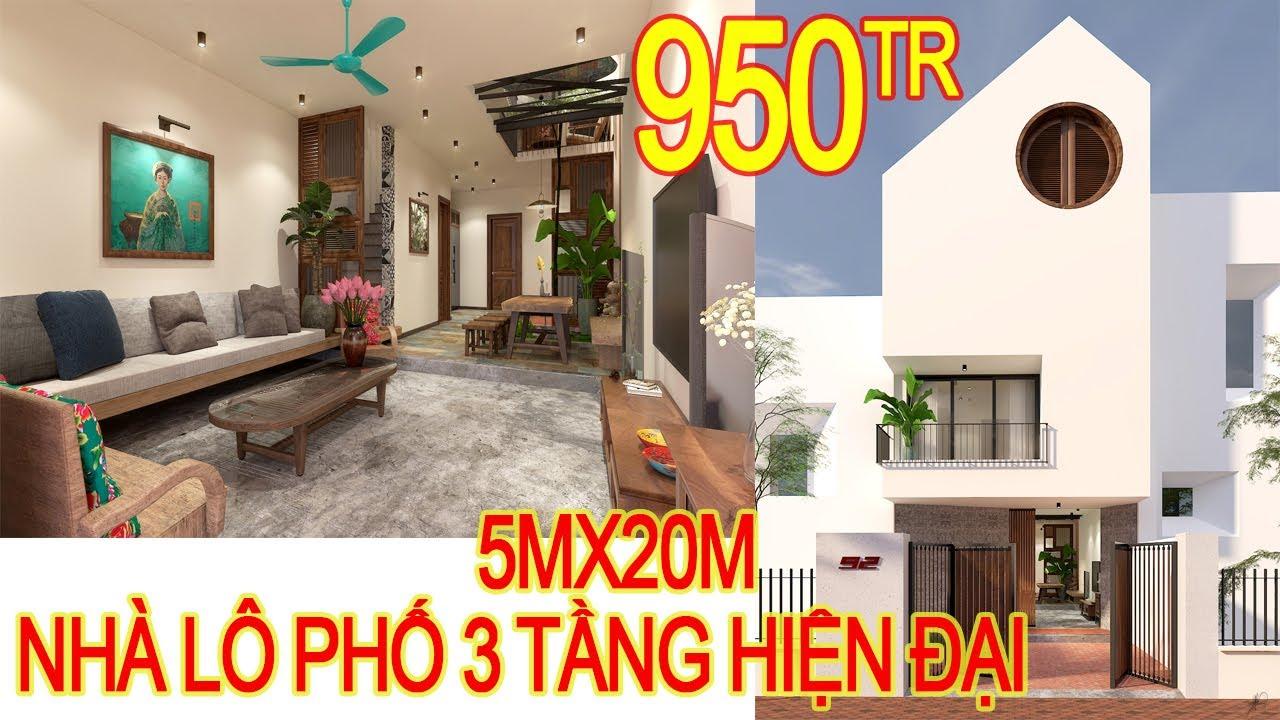 Nhà 3 tầng đẹp tinh tế . Kích thước 5mx20m 4 phòng ngủ, 1 khách, 1 bếp +ăn, 1 gara