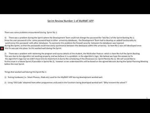 Sprint Review No 1 of MyRMIT Greg Coglan s3806465