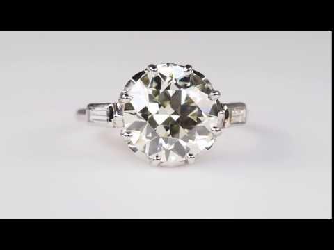 1920'S ANTIQUE ENGAGEMENT RING 3.4 CARAT DIAMOND