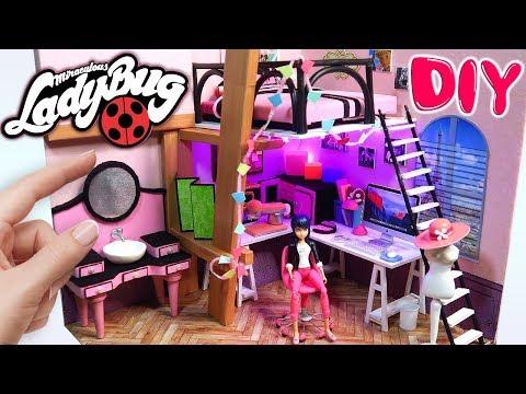 DIY MARINETTE'S MINIATURE ROOM Miraculous Ladybug Dollhouse 100% Homemade