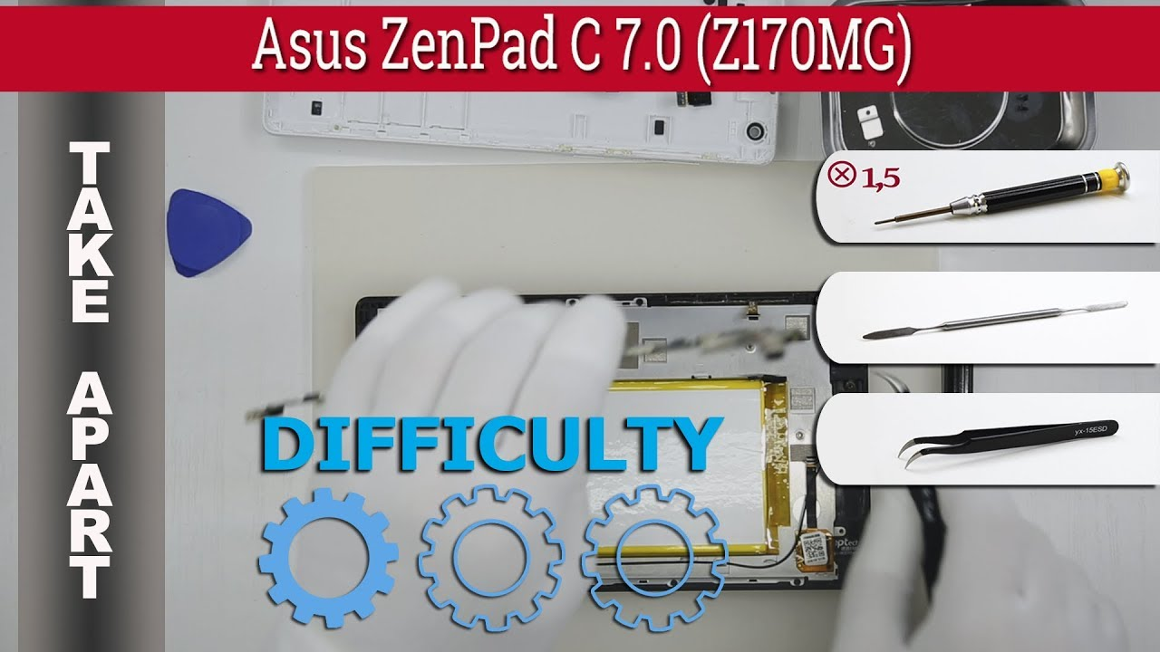 How to disassemble 📱 Asus ZenPad C 7 0 (Z170MG) Take apart Tutorial