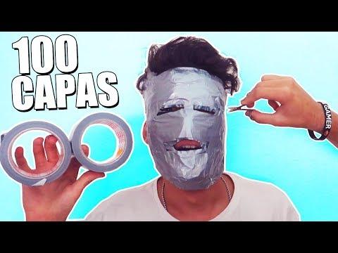 100 CAPAS de CINTA AMERICANA en MI CARA!! CREAMOS una MASCARA con 250 METROS de CINTA! [Logan G]