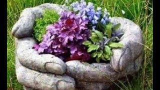 ★ Налил цемент в резиновые перчатки. Получилась супер клумба за зависть соседям