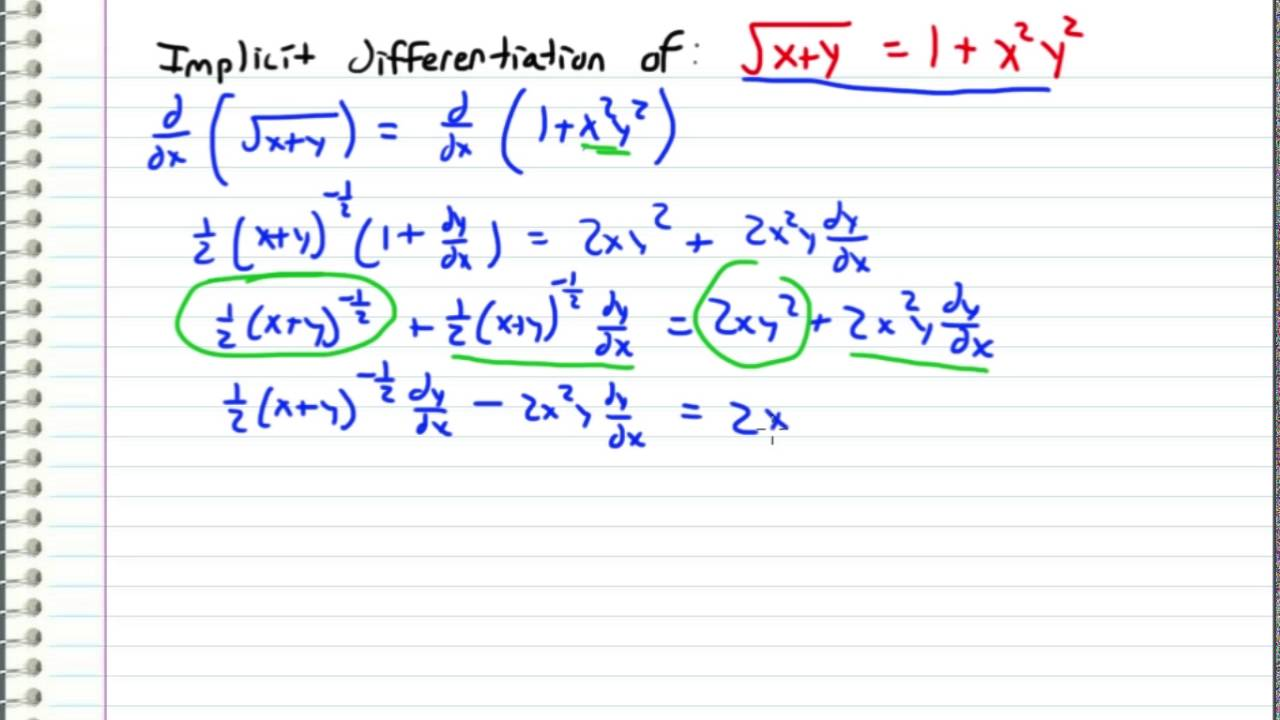 Calculus Implicit Differentiation Example Request Youtube