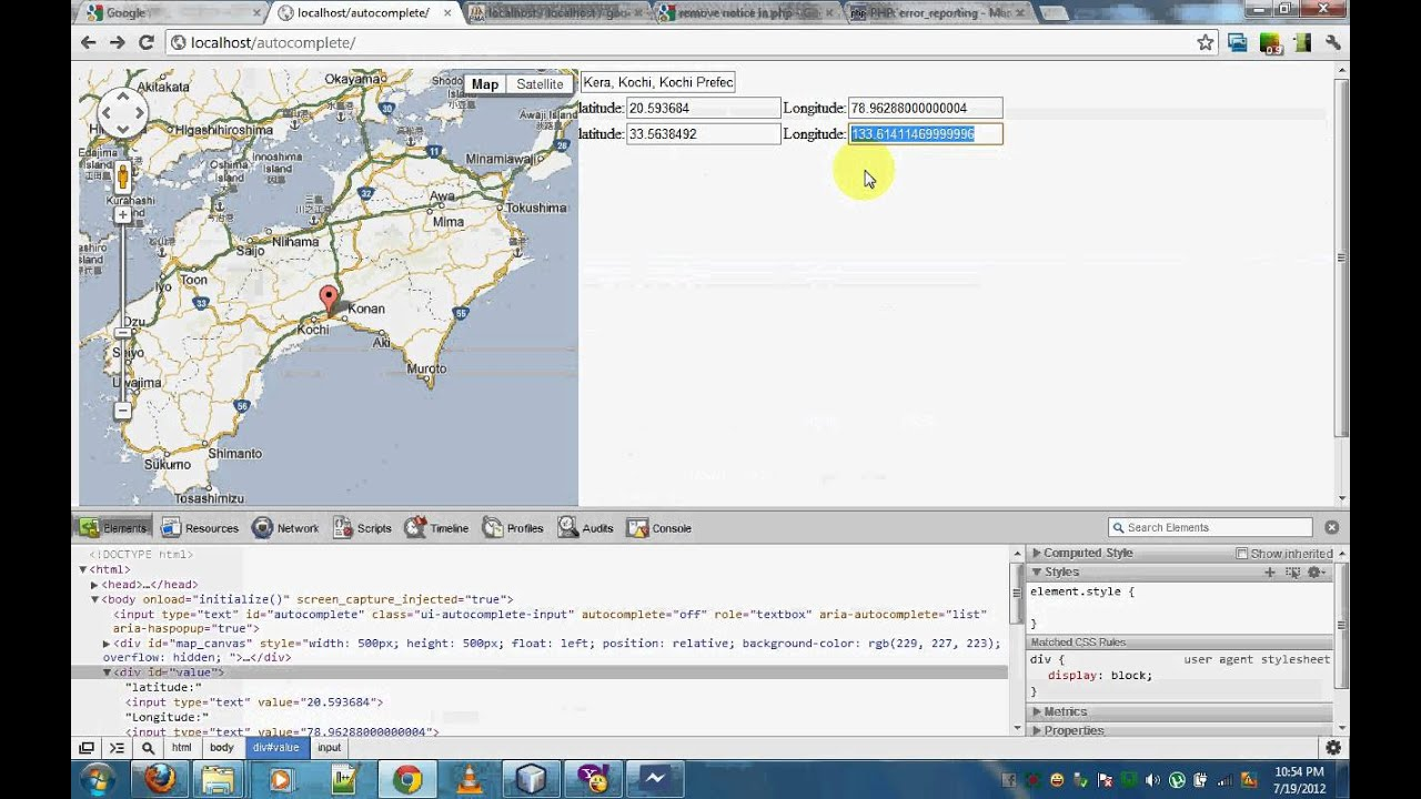 Using Google Maps With Datas Saved In DB Part  YouTube - Show location on map using latitude and longitude php