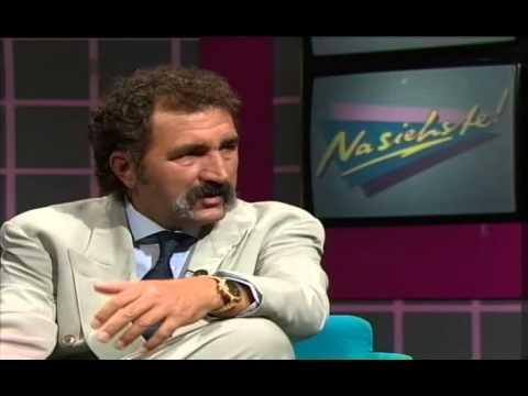 Günther Jauch im Gespräch mit Tennismanager Ion Tiriac 1989