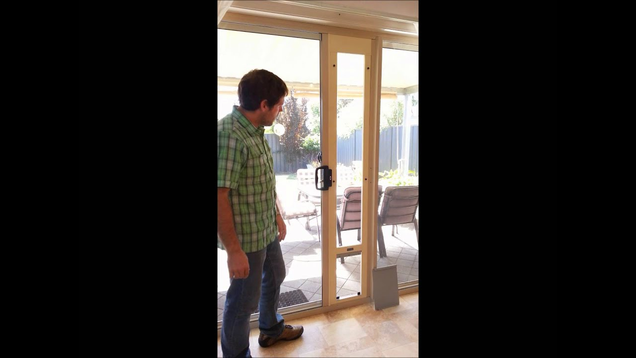 Pet door for sliding glass and screen doors- MAXIMUM security package -  YouTube - Pet Door For Sliding Glass And Screen Doors- MAXIMUM Security