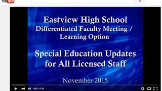 Eastview Faculty Differentiated Faculty Meeting / Learning Option Nov 2015