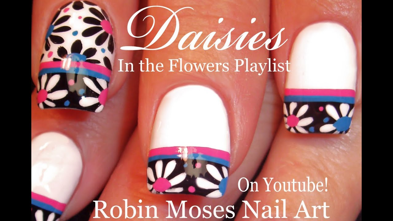 Black and White Daisy Nails | Flower Nail Art Design Tutorial - YouTube