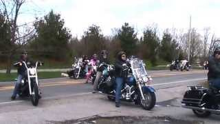 Bikes Entering Pennings Farm Market Warwick NY after Bike Blessing Ceremony
