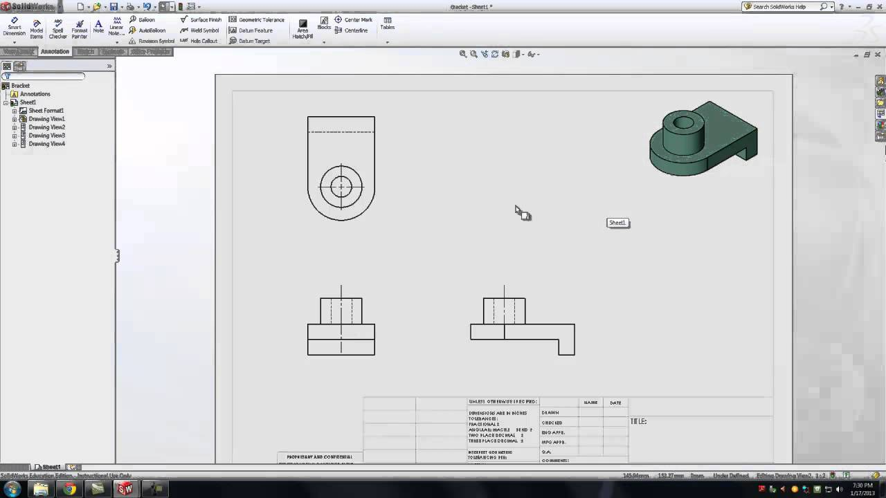 Solidworks: Creating Orthographic Drawings - YouTube