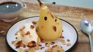 Poached Pears recipe - chocolate sauce - vanilla ice cream and roasted almonds - how to video