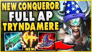 NEW CONQUEROR MAKES AP TRYND ACTUALLY 100% OP!?! 1000+ HP HEALS 700+ DMG SPINS - League of Legends