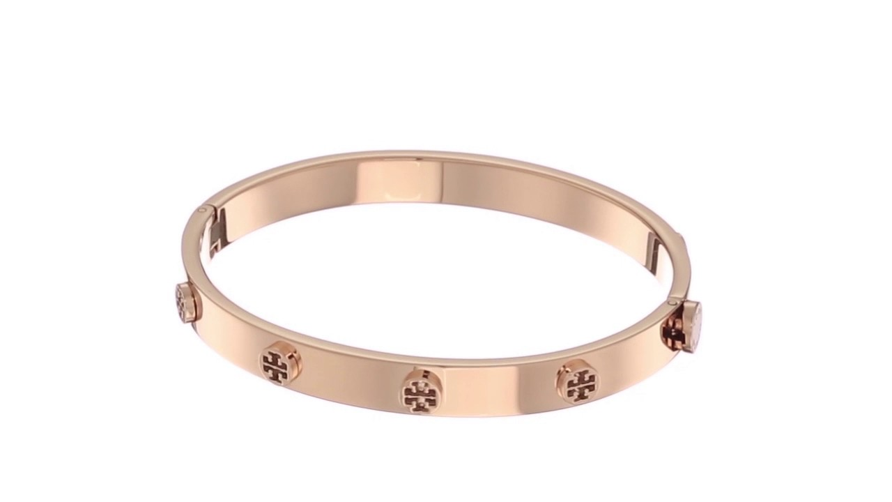 b9832908fee2a1 Tory Burch Logo Stud Hinge Bracelet SKU:8909354 - YouTube