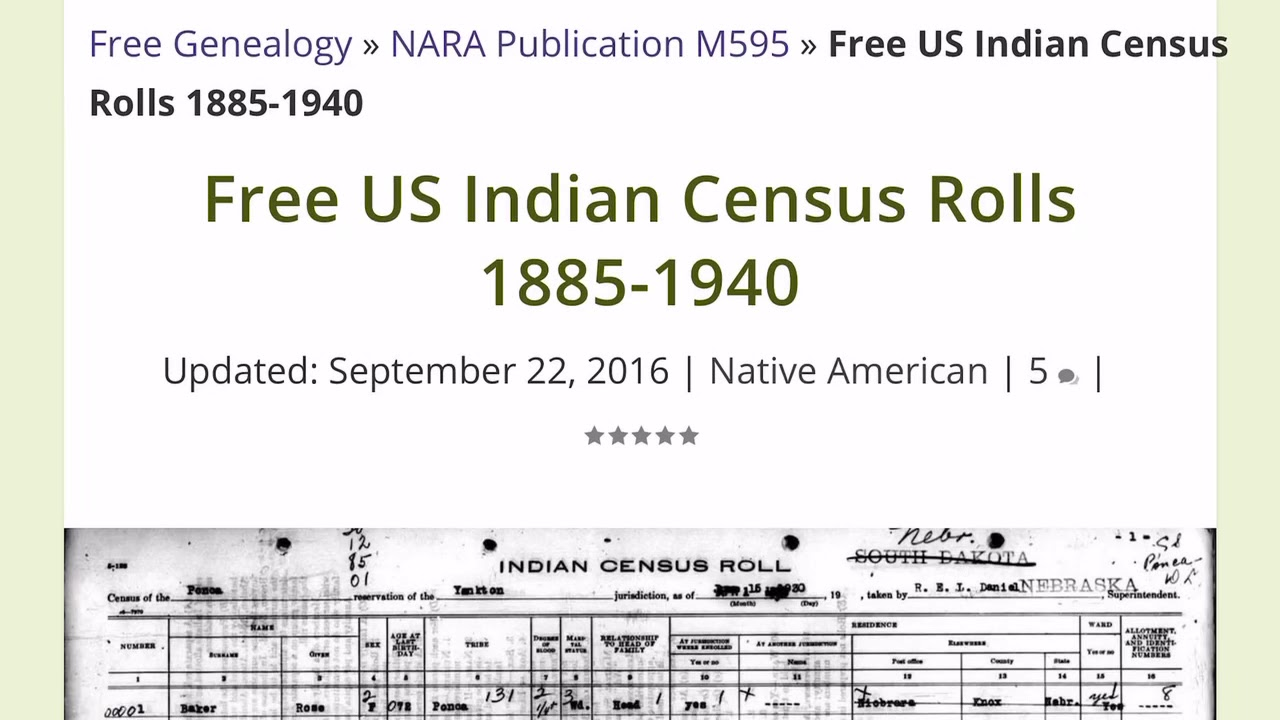 Free US Indian Census Rolls